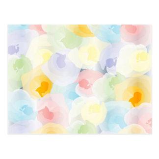 Cartão Postal Floral Pastel abstrato
