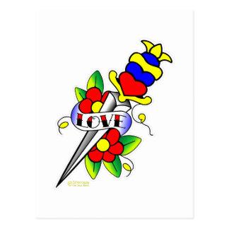 Cartão Postal Flores do punhal e tatuagem do amor