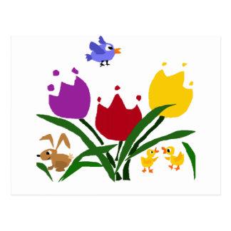 Cartão Postal Flores e coelho da tulipa, patos, e Bluebird