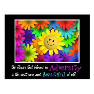 Cartão Postal Flores felizes bonitos da cara