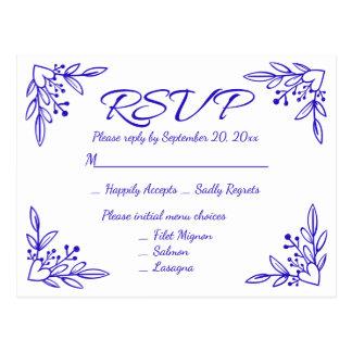 Cartão Postal Flores para casamentos florais do cobalto dos