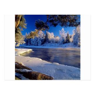 Cartão Postal Fluxo do gelo do rio da natureza