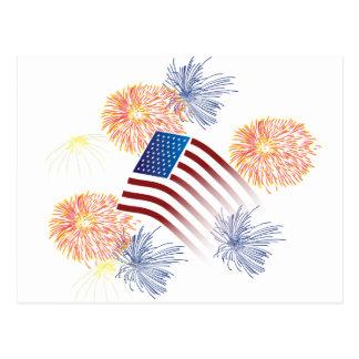 Cartão Postal Fogos-de-artifício da bandeira americana