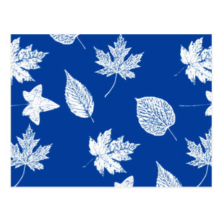 Cartão Postal Folhas de outono - branco e azuis cobaltos