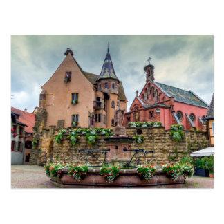 Cartão Postal Fonte de Santo-Leon em Eguisheim, Alsácia, France