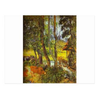 Cartão Postal Gado que bebe por Paul Gauguin