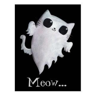 Cartão Postal Gato bonito do fantasma do Dia das Bruxas