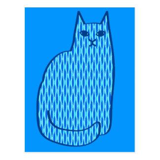 Cartão Postal Gato do meio século, cobalto e luz modernos - azul