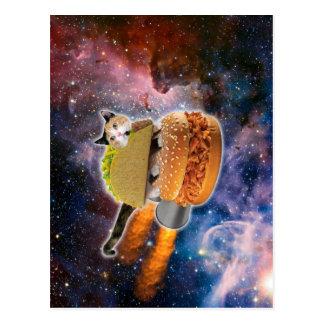 Cartão Postal gato do taco e Hamburger do foguete no universo