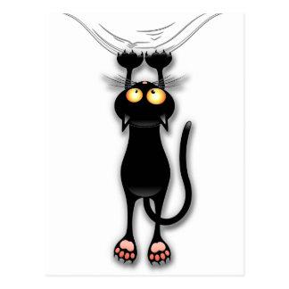 Cartão Postal Gato preto do divertimento que cai para baixo