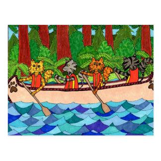 Cartão Postal Gatos Canoeing