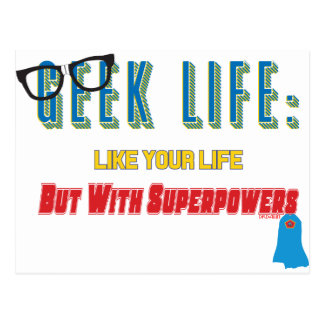 Cartão Postal Geek com superpotências
