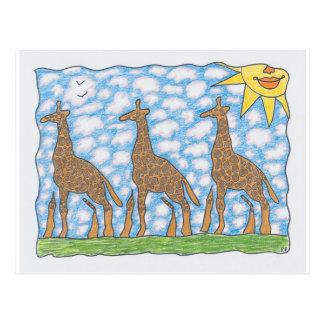 Cartão Postal GIRAFAS de AFRIKA TRÊS por Ruth I. Rubin