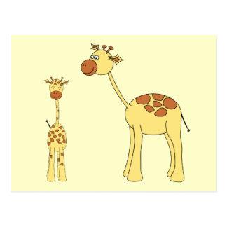 Cartão Postal Giraffe. do bebê e do adulto