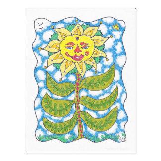 Cartão Postal GIRASSOL CÓSMICO por Ruth I. Rubin
