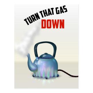 Cartão Postal Gire o poster vintage do gás para baixo