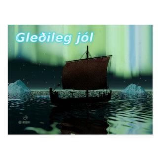Cartão Postal Gleðileg Jól - navio e aurora boreal de Viking