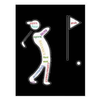 Cartão Postal Golfe, esporte, palavras inspiradores
