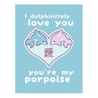 Cartão Postal Golfinhos do amor de Kawaii