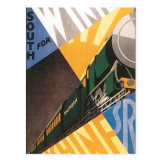 Cartão Postal Gráfico do poster das viagens vintage do trem