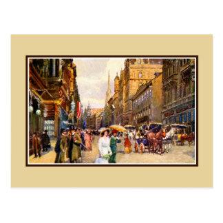 Cartão Postal Grande cena Viena Áustria da época do belle do