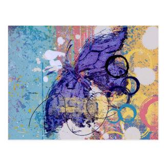 Cartão Postal Grunge da borboleta