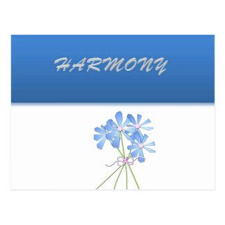 Cartão Postal Harmonia floral azul e de prata