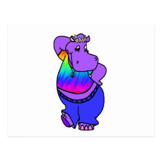 Cartão Postal Hipopótamo do hippy
