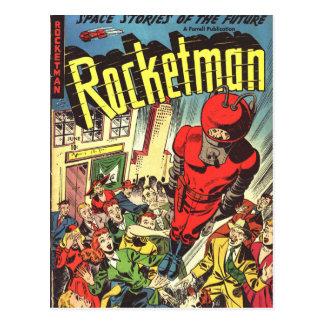 Cartão Postal História em quadrinhos do vintage de Rocketman