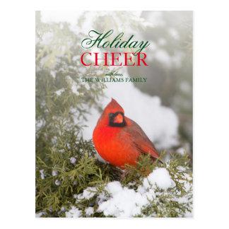 Cartão Postal Homem cardinal do norte do ângulo dianteiro na