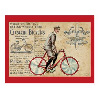 Cartão Postal Homem do vintage que monta a bicicleta vermelha