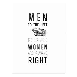 Cartão Postal homens à esquerda porque as mulheres são sempre