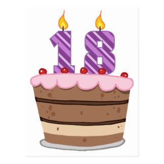 Cartão Postal Idade 18 no bolo de aniversário