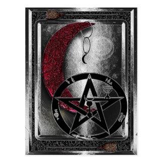 Cartão Postal Idade nova da lua crescente de prata de Wiccan