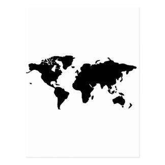Cartão Postal Ilustração preto e branco do mundo