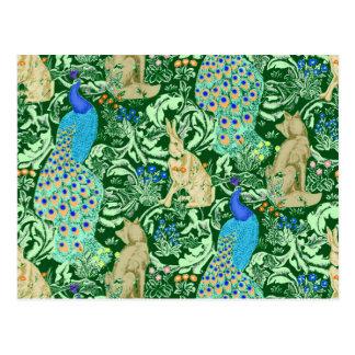 Cartão Postal Impressão, azuis cobaltos & verde do pavão de