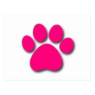 Cartão Postal Impressão brincalhão da pata do cão para o ROSA