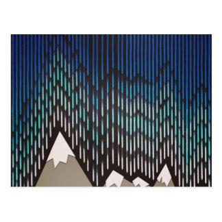 Cartão Postal Impressão dado forma chuvoso azul das montanhas do