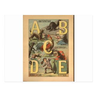 Cartão Postal Impressão do alfabeto do vintage - ABCDE