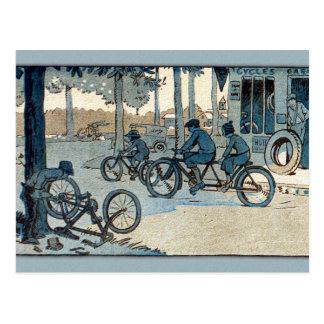 Cartão Postal Impressão do andando de bicicleta do vintage