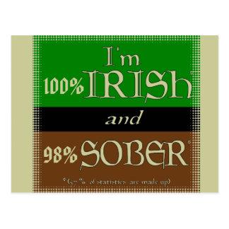 Cartão Postal Irlandês de 100%, 98% sóbrio
