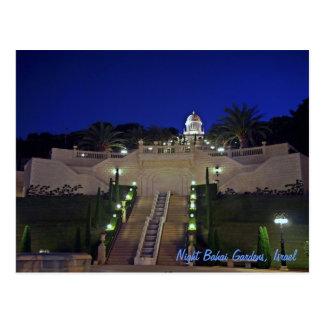 Cartão Postal Jardins de Bahai da noite, Israel