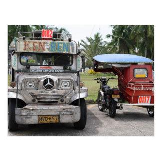 Cartão Postal Jeepney e triciclo