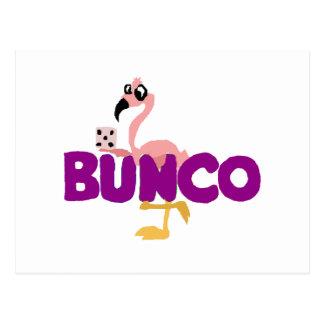 Cartão Postal Jogo engraçado dos dados de Bunco e flamingo