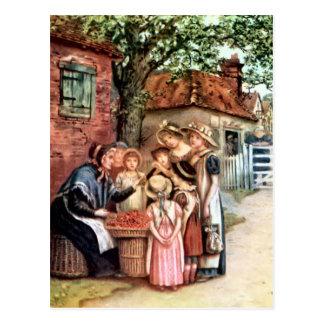 Cartão Postal Kate Greenaway: A mulher da cereja