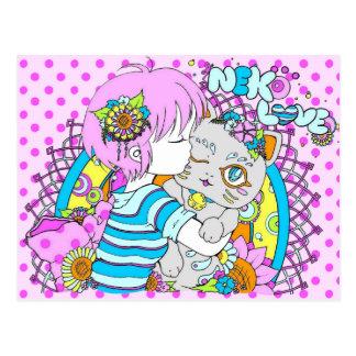 Cartão Postal Kawaii neko chat flower manga