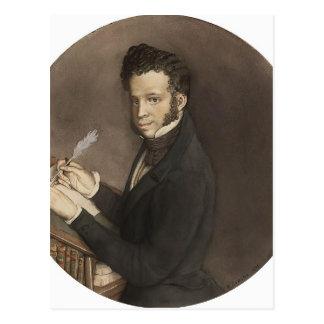 Cartão Postal Konstantin Somov- Alexander Pushkin no trabalho