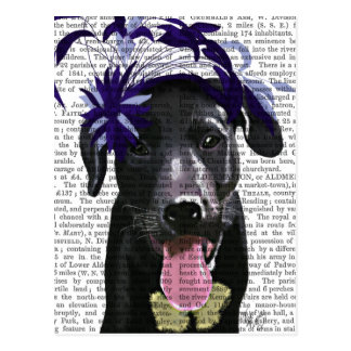 Cartão Postal Labrador preto com Fascinator azul