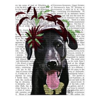 Cartão Postal Labrador preto com Fascinator verde