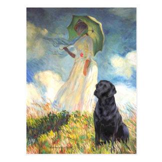 Cartão Postal Labrador (preto) - guarda-chuva
